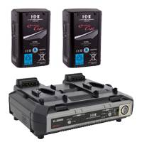 IDX EC-95/2000S (EC952000S) 2x ENDURA CUE-D95 Batteries, 1x VL-2000S Simultaneous Charger with 4 pin XLR DC Output (100W)