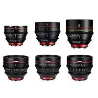 Canon CN-E EF mount prime lens bundle including 14, 24, 35, 50, 85, and 135mm 4K digital cinema lenses (CN-E14mm, CN-E24mm, CN-E35mm, CN-E50mm, CN-E85mm, CN-E135mm)