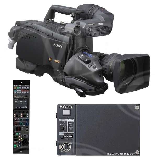 Used Sony HDC-1500R Complete HD Camera Channel Package includes HDC-1500R HD Camera, HDCU-1500 Control Unit, RCP-1500 Remote Control Panel, HDVF-C730 LCD Viewfinder and HDVF-20A CRT Viewfinder