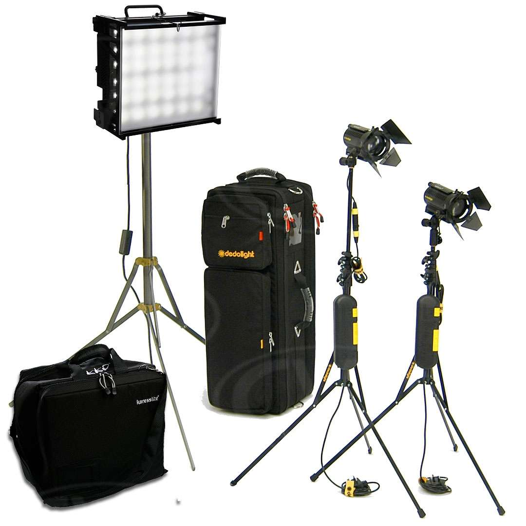 CVP Advanced Tungsten Location Lighting kit 2 - 2 x Dedolight spotlights + 1 x Gekko karesslite softlight