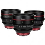 Canon CN-E EF mount prime lens set including 24, 50 and 85mm 4K digital cinema lenses (CN-E24mm, CN-E50mm, CN-E85mm)